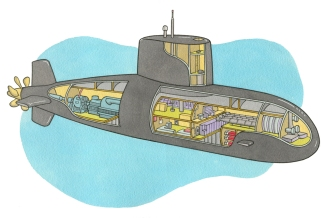 Cross-section of submarine