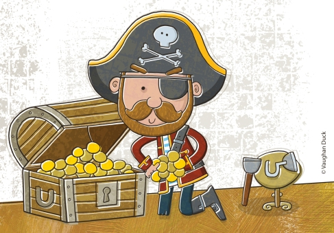Pirate with treasure of gold